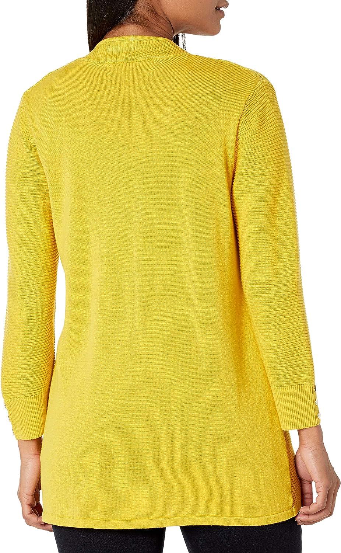 Kasper Women's Petite 3/4 Cardigan with Sleeve Buttons