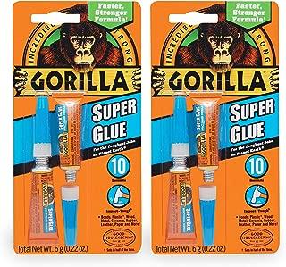 Gorilla Super Glue, Two 3 Gram Tubes, Clear, (2 Pack)