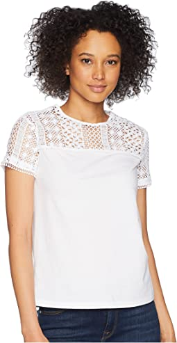 LAUREN Ralph Lauren Lace-Yoke Jersey Top