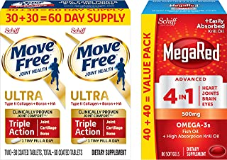 Move Free Type II Collagen, Boron & HA Ultra Triple Action Tablets(60) and Omega-3 Fish Oil + High Absorption Krill Oil 500mg Softgels, MegaRed Advanced 4in1 (80 Count in a Bottle)