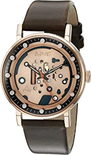 August Steiner Men's Steampunk Dress Watch - Rose Gold Tone Dial with Orange Second Hand on Brown Genuine Leather Strap - AS8183