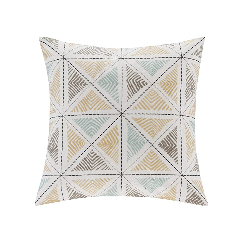 Ink+Ivy Zelda Embroidered Fashion Cotton Throw Pillow, Casual Geometric Square Decorative Pillow, 18X18, Multi
