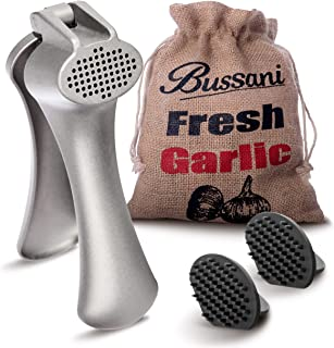Bussani Garlic Press Crusher Easy to Clean, Easy to Use, Prestige Design, Sturdy, Durability Handy for Fresh Ginger. Comes with Double Cleaning Tools in a Burlap Bag for Storage Garlic.