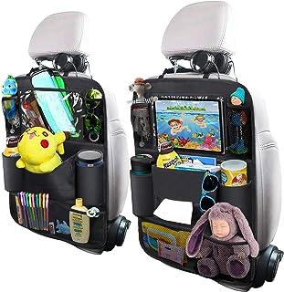 OYRGCIK - Organizador para asiento trasero de coche, protector de asiento trasero con pantalla táctil, soporte para tabletas, caja de pañuelos, 8 bolsillos de almacenamiento para juguetes, libros, botellas, bebidas, niños, viajes, 2 unidades
