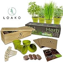 Indoor Herb Garden Kit. Includes Pots, Seeds, Soil Pellets, Markers, Instructions..