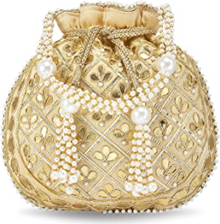Peora Potli Bags for Women Evening Bag Clutch Ethnic Bride Purse with Drawstring (P09CRM)