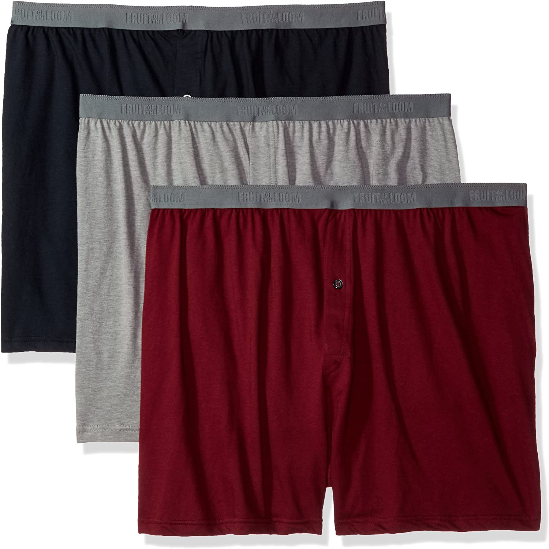 Fruit of the Loom Men's 3-Pack Premium Big Man Knit Boxer