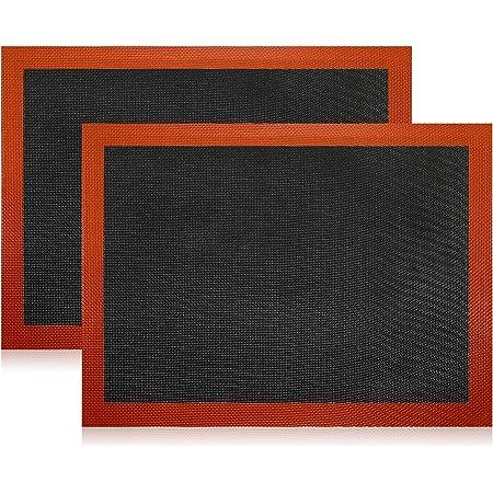 Lot de 2 tapis de cuisson en silicone anti-adhésif, lavable, réutilisable, résistant à la chaleur, tapis de cuisson en silicone de qualité professionnelle pour pâtisserie, gâteaux (40 x 30 cm)