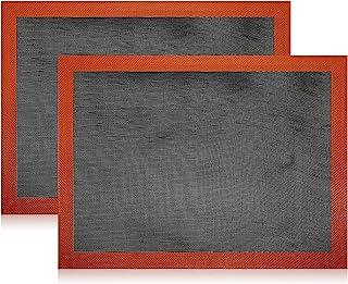 Lot de 2 tapis de cuisson en silicone anti-adhésif, lavable, réutilisable, résistant à la chaleur, tapis de cuisson en sil...