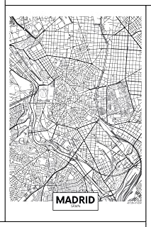 EzPosterPrints - World Famous City Map Posters - Decorative Travel Poster Printing - Wall Art Print for Home Office - Madrid - 12X18 inches