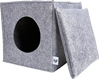 comprar comparacion VIIRKUJA - Cueva de fieltro para gatos con cojín | Apto para estantería IKEA Expedit & Kallax | cojín extra mullido | espe...