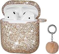 Airpods Case, DMMG Airpods Case Cover Silicone Skin, AirPods Protective Bling Glitter Case with Fluff Ball Keychain, Scratch Proof and Drop Proof for Apple Airpods 2&1 (Rose Gold)