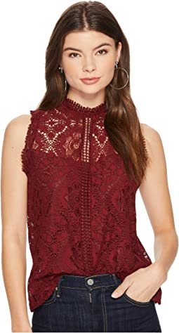 BB Dakota Patti Mock Neck Lace Top