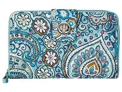 Vera Bradley Iconic RFID Turnlock Wallet (Daisy Dot Paisley) Wallet Handbags
