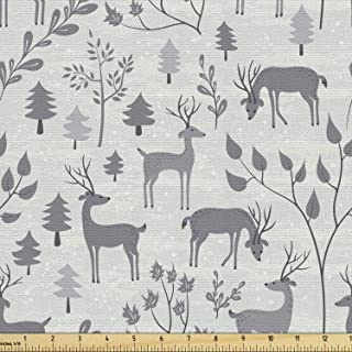 Ambesonne Christmas Fabric by The Yard, Deer in The Winter Forest Happy New Year in Woodland Trees Graphic Art, Decorative...
