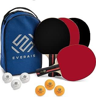 Everais Ping Pong Paddle - 4 Pro Table Tennis Racket Set, 6 Professional Balls, Bats with Premium Rubber, Ergonomic Handle, Great Spin & Speed, Complete Table Tennis Set, Bonus Portable Storage Bag