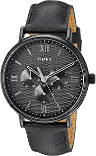 Timex Men's TW2T35200 Southview 41 Multifunction Blackout Leather Strap Watch