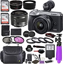 Canon EOS M6 Mark II Mirrorless Digital Camera (Silver) EVF-DC2 Viewfinder Kit with Canon EF-M 15-45mm IS STM Lens (Graphi...