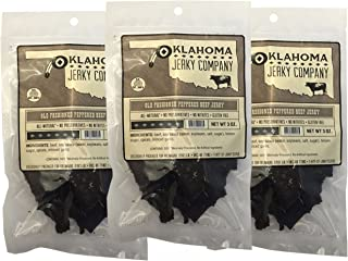 Old Fashioned Style Gluten Free Peppered Beef Jerky - 3 PACK - No Frills Tough and Dry Style Beef Jerky - All Natural, No Added Preservatives and No Added MSG - 9 total oz.