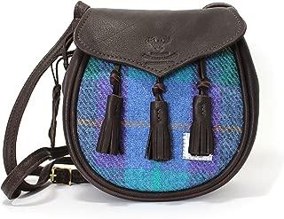 Wild Scottish Deerskin and Stunning Custom Designed Traditional Check Harris Tweed Sporran Handbag in Blue, Green and Violet.