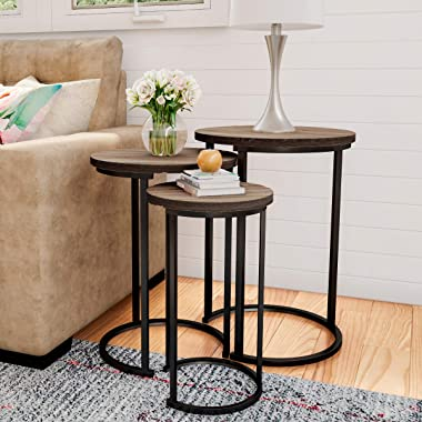 Lavish Home Round Nesting Set of 3, Modern Woodgrain Look with Black Base for Living Room Coffee Tables or Nightstands-Accent