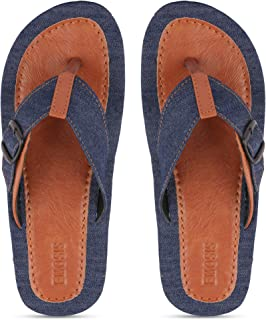 Emosis Men's Slipper Cum Sandal - Latest & Stylish Synthetic Leather - for Outdoor Formal Office Casual Ethnic Daily Use - Available in Blue Black Dnim Navy Color - 0406M