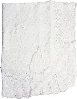 Baby Fancy Christening White Hand Crochet Cotton Shawl or Minky Blanket