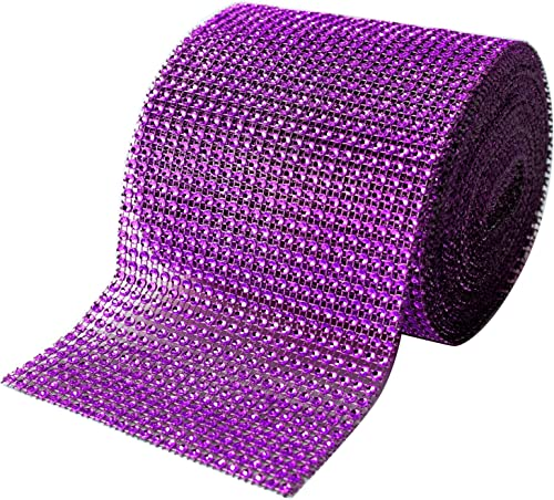 high quality Purple Diamond Sparkling Rhinestone Bling Wrap Ribbon Bulk DIY Roll for Event Decorations, Wedding Cake, Bridal/Baby Shower, Birthdays, Arts & Crafts, Vase & lowest Party Decorations - 30 Ft - high quality 1 Roll outlet sale
