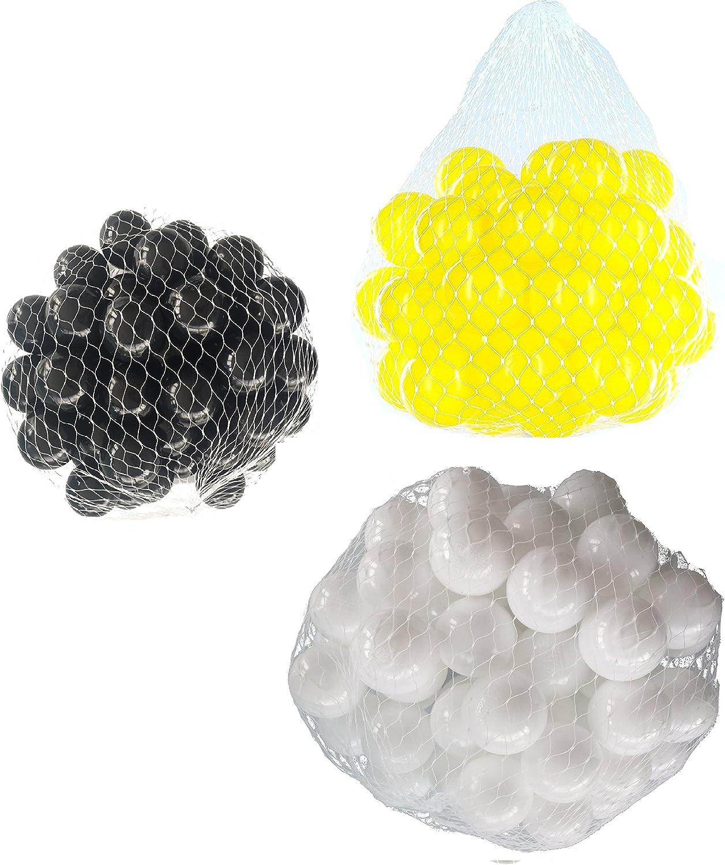 2100 Blle für Bllebad gemischt mix mit wei, gelb und schwarz