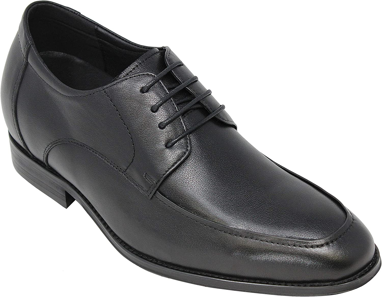 CALTO Men's Invisible Height Increasing Elevator shoes - Black Premium Leather Lace-up Formal Oxfords - Y40213-3 Inches Taller