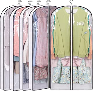 """MISSLO 50"""" Gusseted Garment Bags for Storage Clear Suit Bag Closet Hanging Clothes Cover for Coats Shirts Dresses, 5 Packs"""