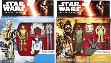 Star Wars: The Force Awakens 3.75-Inch Figure 2-Pack Snow Mission R2-D2 & C-3PO and Desert Mission BB-8, Unkar's Thug & Jakku Scavenger Set of 2