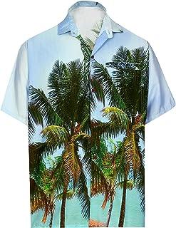 d3ebafbd6979c4 HAPPY BAY Hawaiano Camicia Pulsante Spiaggia Uomini Giù Palma