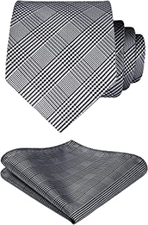 "Hisdern Mens Extra Long Tie + Pocket Square Set Checked and Polka Dot Pattern Neck Ties for Men (63""/160cm Length/XL Size)"
