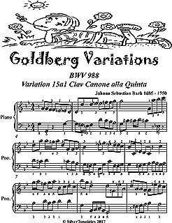 Goldberg Variations BWV 988 Variation 15a1 Easiest Piano Sheet Music Tadpole Edition
