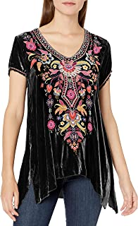 JWLA By Johnny Was Women's Rayon and Silk Velvet Embroidered Drape Top