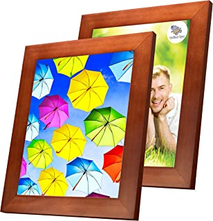 SpoiledHippo 8x10 Picture Frame Brown with Mat (2 Pack) - Solid Wood Photo Frames with Glass - Wall Frame for 8 by 10 Inch Photos or Standing Table Top or Desk for Poster Collage Diploma Certificate