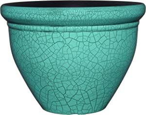 """Classic Home and Garden 710D-558R 10"""" Snap Pot Planter, Round, Teal Crackle"""