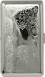 Silver Victorian Scroll (Full Pack 120s) Metal-Plated Cigarette Case & Stash Box
