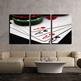 wall26 - 3 Piece Canvas Wall Art - Cards Laying Around with Poker Chips on top. - Modern Home Decor Stretched and Framed Ready to Hang - 16