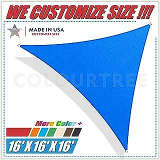 ColourTree 16' x 16' x 16' Blue Sun Shade Sail Triangle Canopy – UV Resistant Heavy Duty Commercial Grade Outdoor Patio Carport (We Make Custom Size)