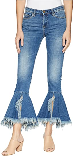 Denim Ruffle Bottom Jeans in X-Factor