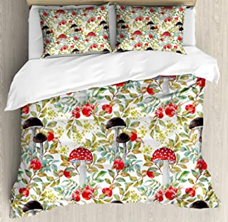 Ambesonne Watercolor Duvet Cover Set, Hand Drawn Dogrose and Mushrooms Autumn Leaves Berries Amantias Nature Inspired, Decorative 3 Piece Bedding Set with 2 Pillow Shams, Queen Size, Red Green