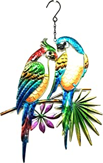 Bejeweled Display Two Parrots w/Glass Wall Art Plaque & Home Decor