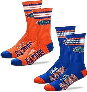 For Bare Feet Men's NCAA (2-Pack)-4 Stripe Deuce Crew Socks-Size Large and Medium