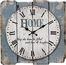 "Stonebriar Worn Blue 15"" Square White Wall Clock"