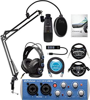 """PreSonus AudioBox 96 Studio Hardware/Software Recording Kit Bundle with Blucoil Boom Arm Plus Pop Filter, USB Hub Type-A, 10' Straight Instrument Cable (1/4""""), 10' XLR and 3' USB Extension Cables"""