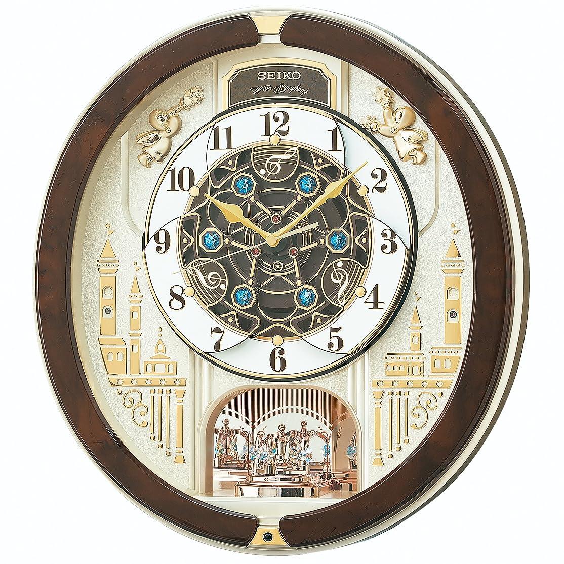 日常的に悲しみ切り刻むセイコー クロック 掛け時計 電波 アナログ からくり トリプルセレクション メロディ 回転飾り 薄金色 パール RE579B SEIKO