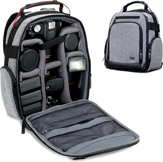 USA GEAR Mochila para Cámara Portátil para DSLR (Gris) con Divisores de Accesorios Personalizables Fondo Resistente a la Intemperie y Respaldo Cómodo - Compatible con Canon Nikon Sony y más SLR