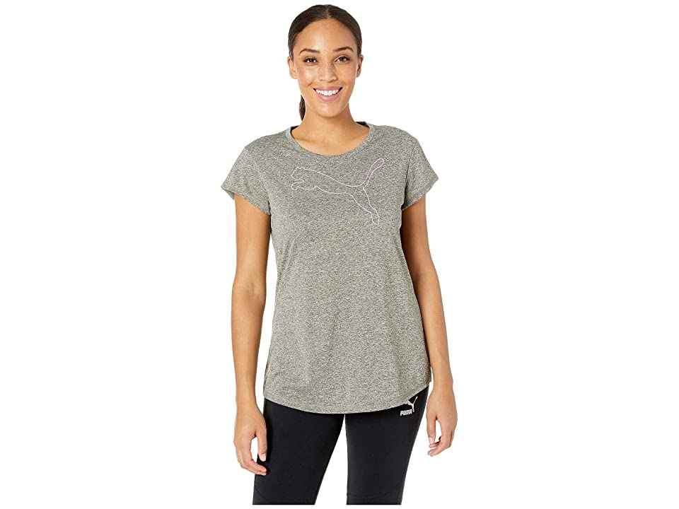 PUMA Active Logo Heather Tee (Forest Night Heather) Women